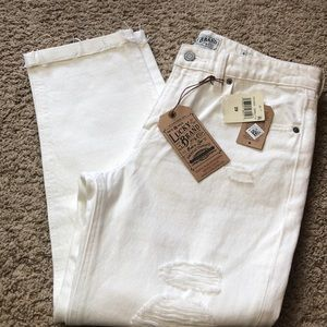 Lucky. White denim distressed slim crop jeans
